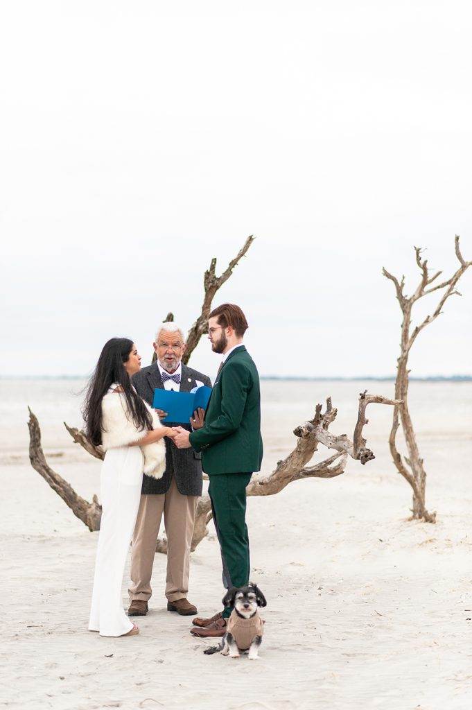 bride and groom at elopement ceremony in front of the Wishing Tree on Folly Beach in Charleston, SC