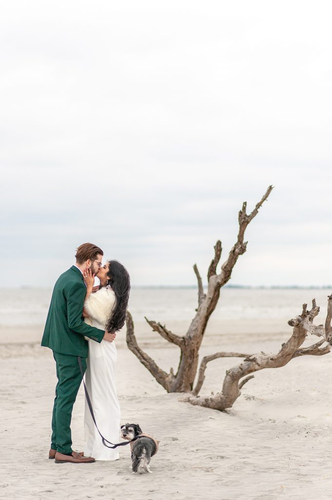 bride and groom at the wishing tree on Folly Beach