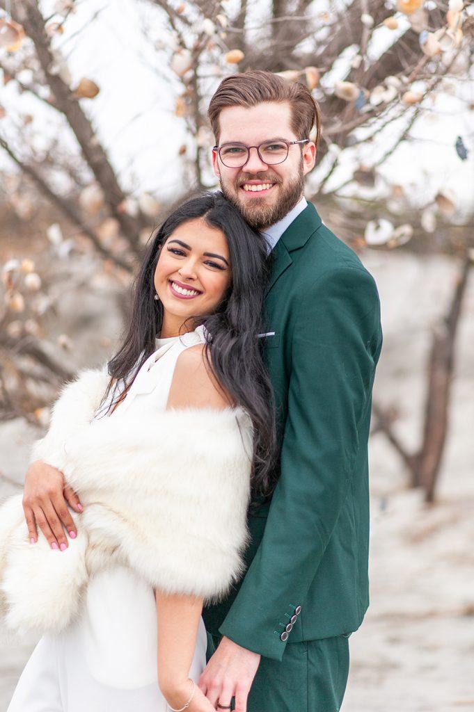 bride and groom portrait on Folly Beach