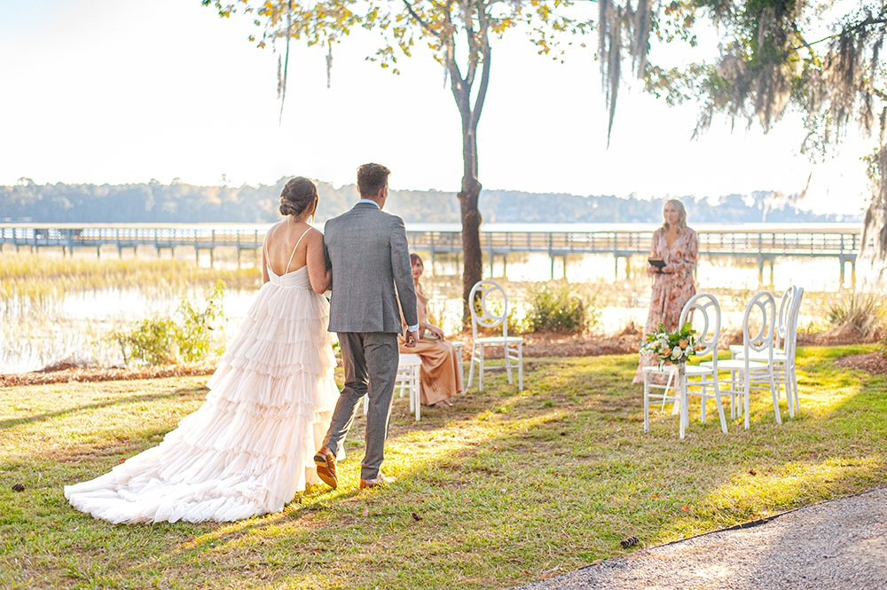 Oldfield River Club Wedding Ceremony by the river in Beaufort, SC