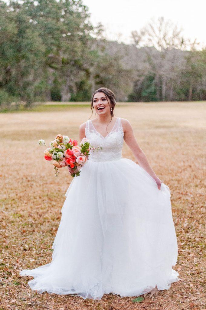 laughing bride at Runnymede Plantation