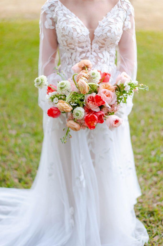 colorful winter bridal bouquet