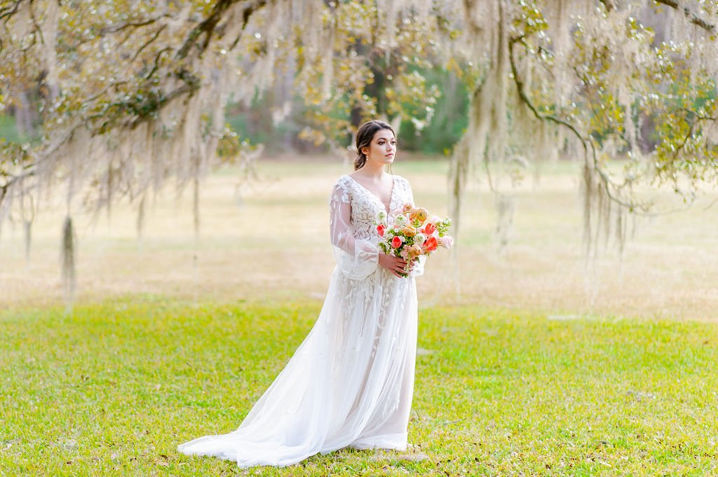 bridal portrait at Runnymede Plantation in Charleston, SC with Spanish moss and large oak tree