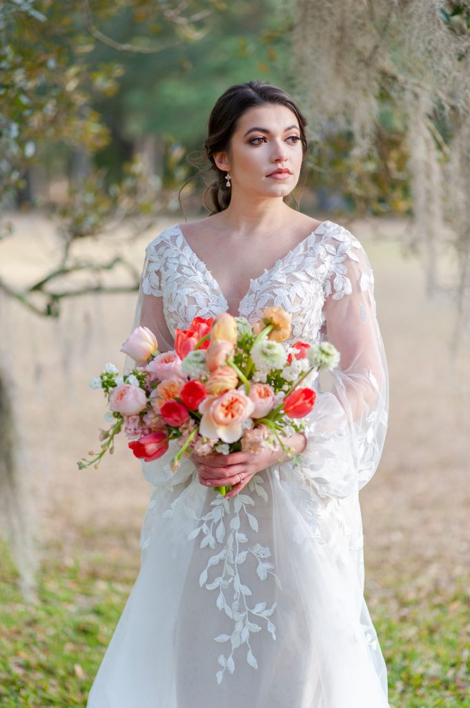 bridal portrait at Runnymede Plantation in Charleston, SC with Spanish moss