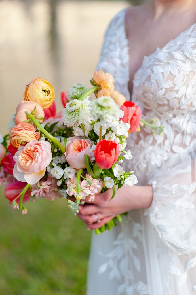 pink, blush, and peach wedding bouquet