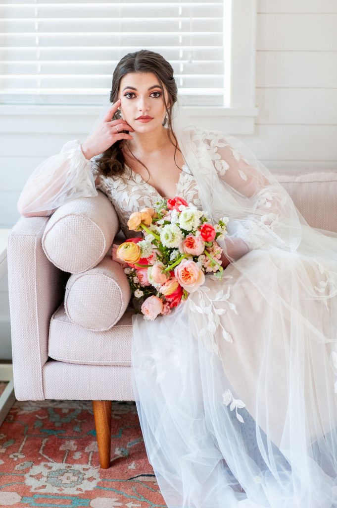 bridal portrait in Runnymede Plantation bridal suite