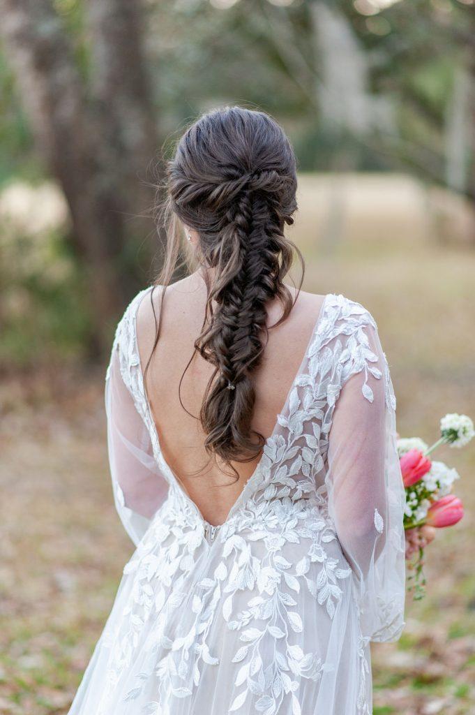 braided ponytail bridal hair