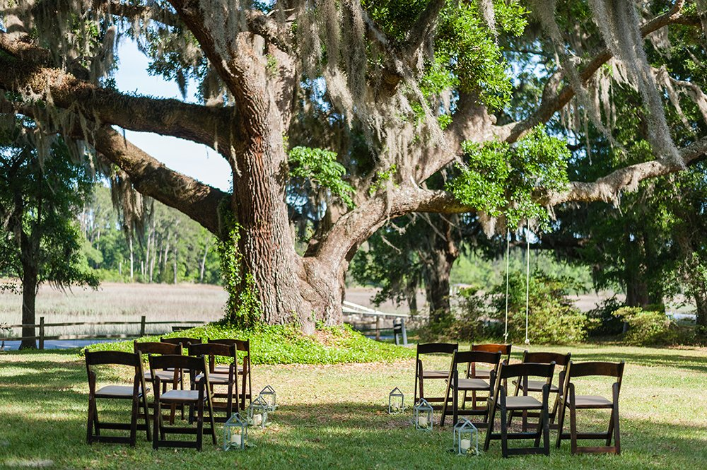 ceremony setup for elopement at A Whitehouse Wedding in Charleston, SC