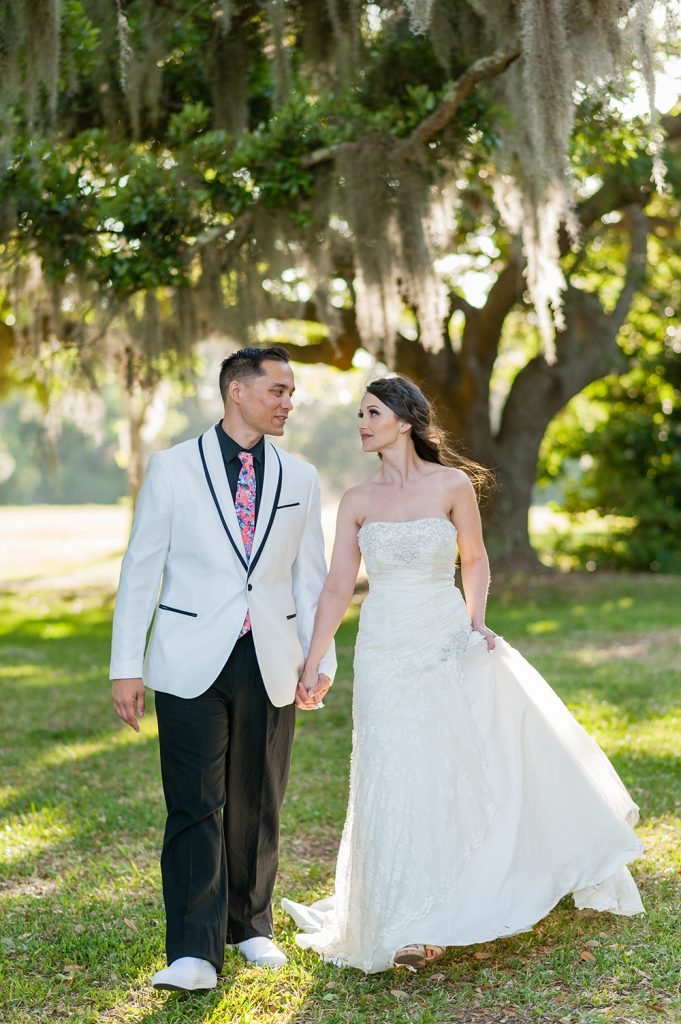 bride and groom portrait at elopement at A Whitehouse Wedding in Charleton, SC