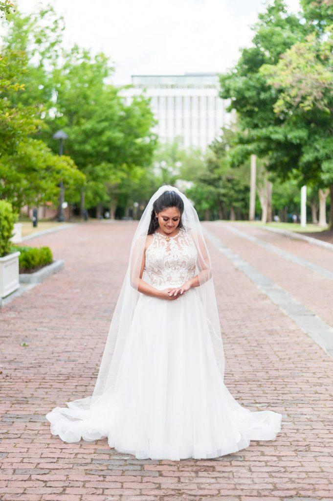 bridal portrait at Marion Square in Charleston, SC