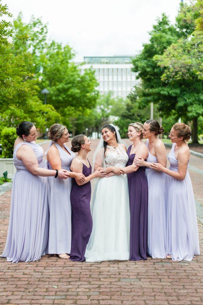bride and bridesmaids at Marion Square in Charleston, SC
