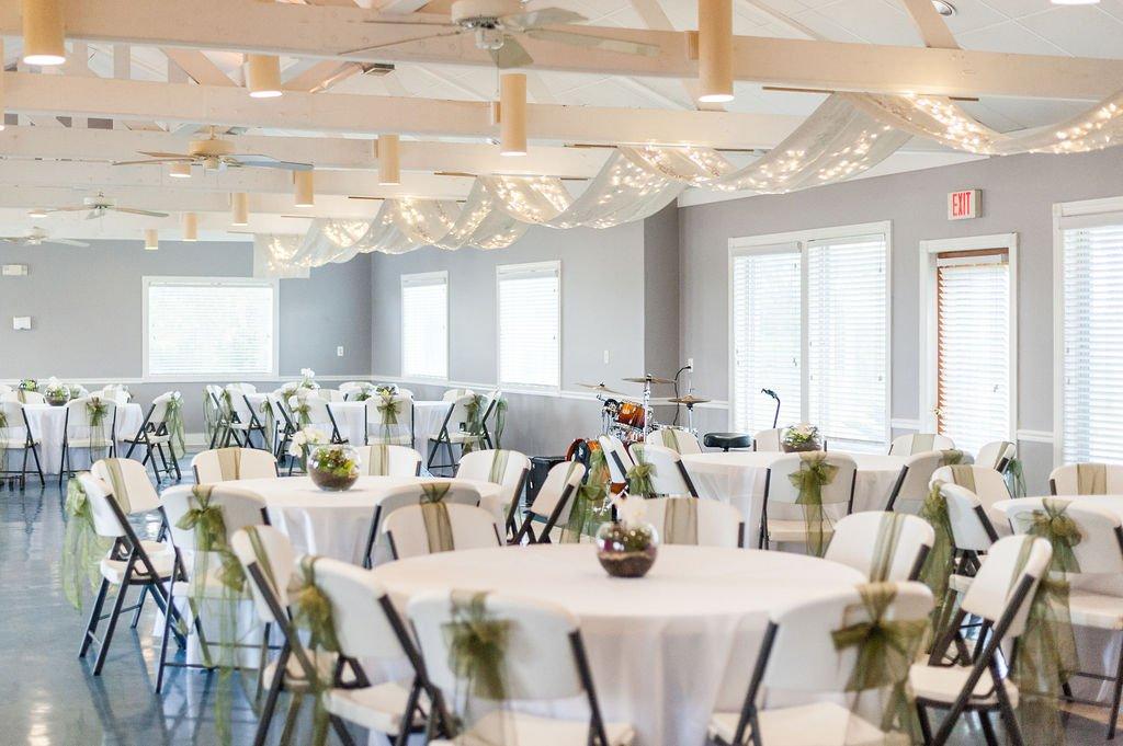Indoor reception setup at Goldbug Island, Destination Gold Bug wedding venue in Charleston, SC