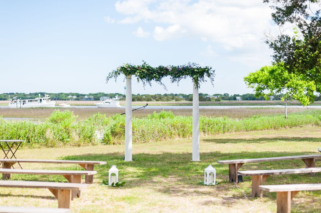 Ceremony setup at Goldbug Island, Destination Gold Bug wedding venue in Charleston, SC