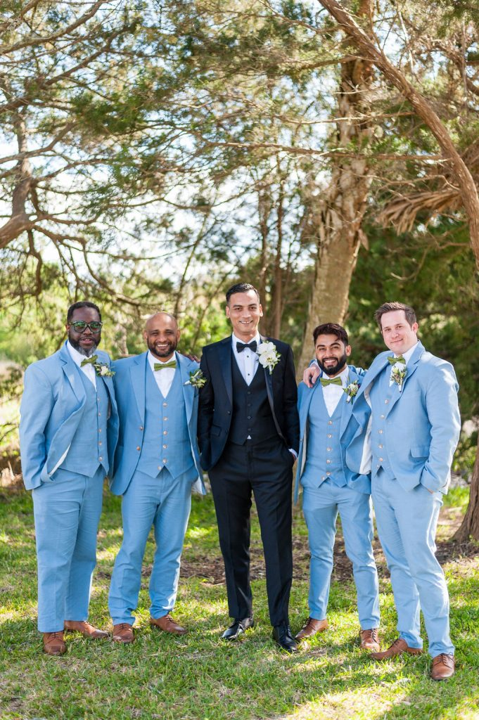 groom and groomsmen at Goldbug Island, Destination Gold Bug wedding venue in Charleston, SC