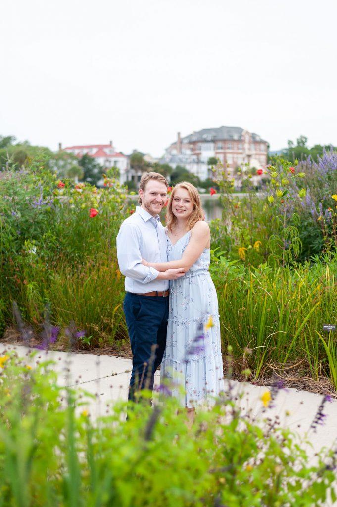 engagement photos at Colonial Lake in Charleston, SC