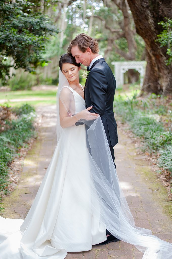 Bride and groom portrait in the garden at Legare Waring House
