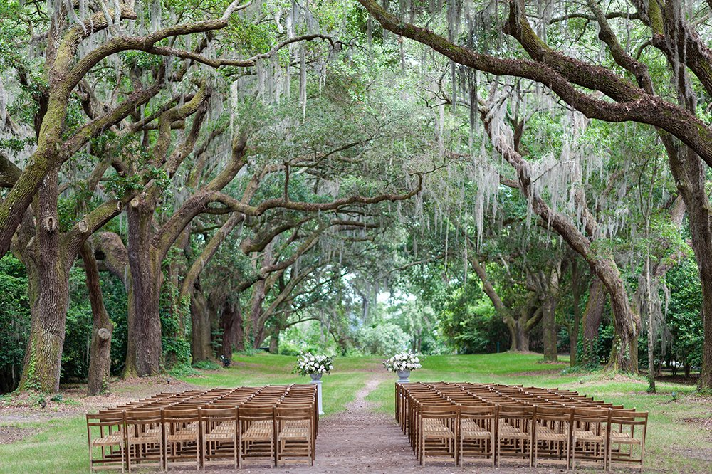 Ceremony setup at Legare Waring House avenue of oaks