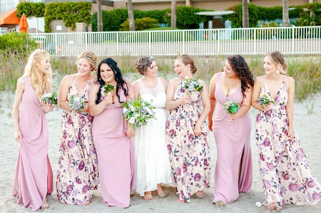 Bridesmaids at Folly Beach wedding at Tides