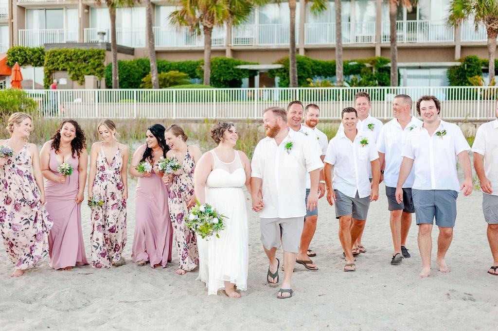 Folly Beach wedding party at Tides