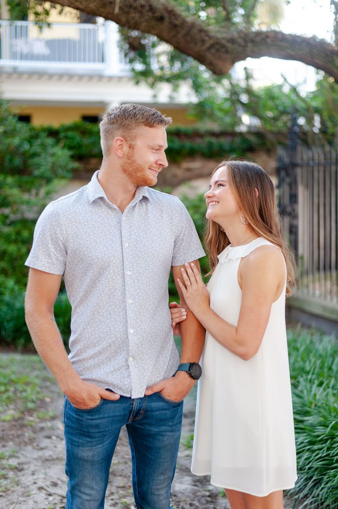 engagement photos in downtown Charleston, SC