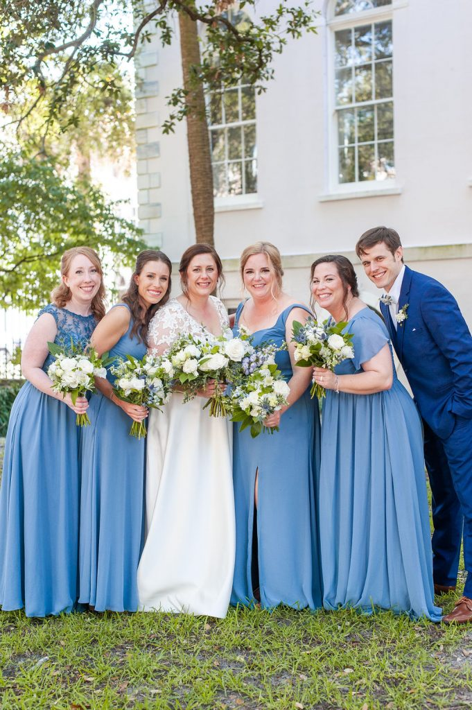 Wedding party in blue at Washington Square in Charleston, SC
