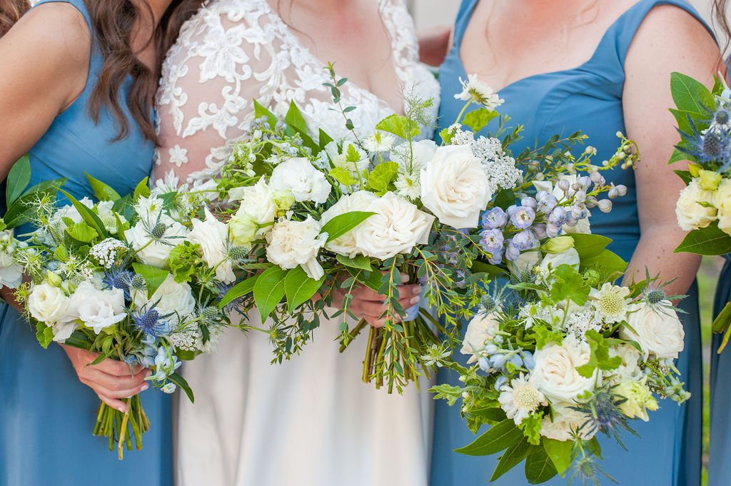 blue and white wedding bouquet from Roadside Blooms