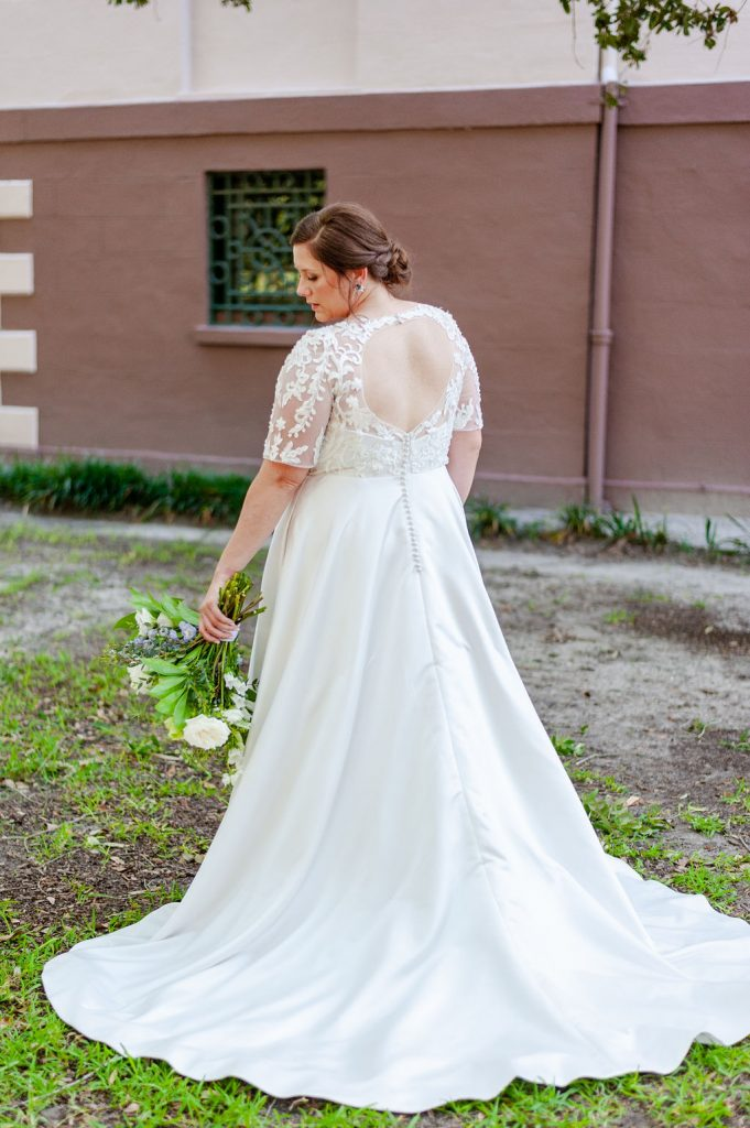 bridal portrait at Washington Square in Charleston, SC