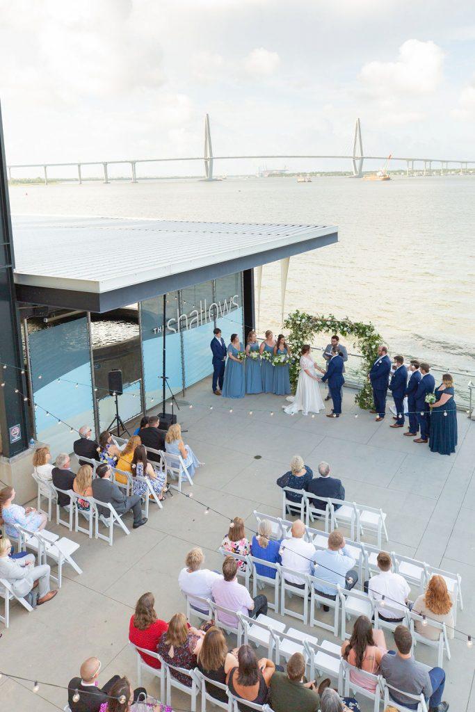 South Carolina Aquarium Wedding ceremony birds eye view