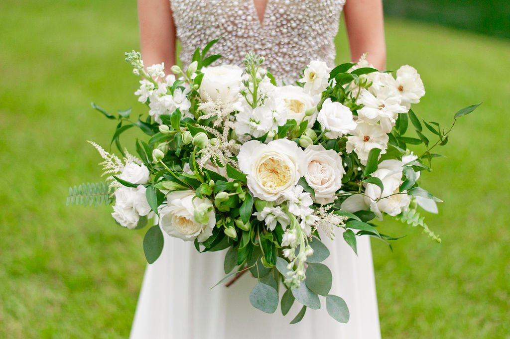 bouquet with white flowers and greenery made by Wisteria Designs in Charleston, SC