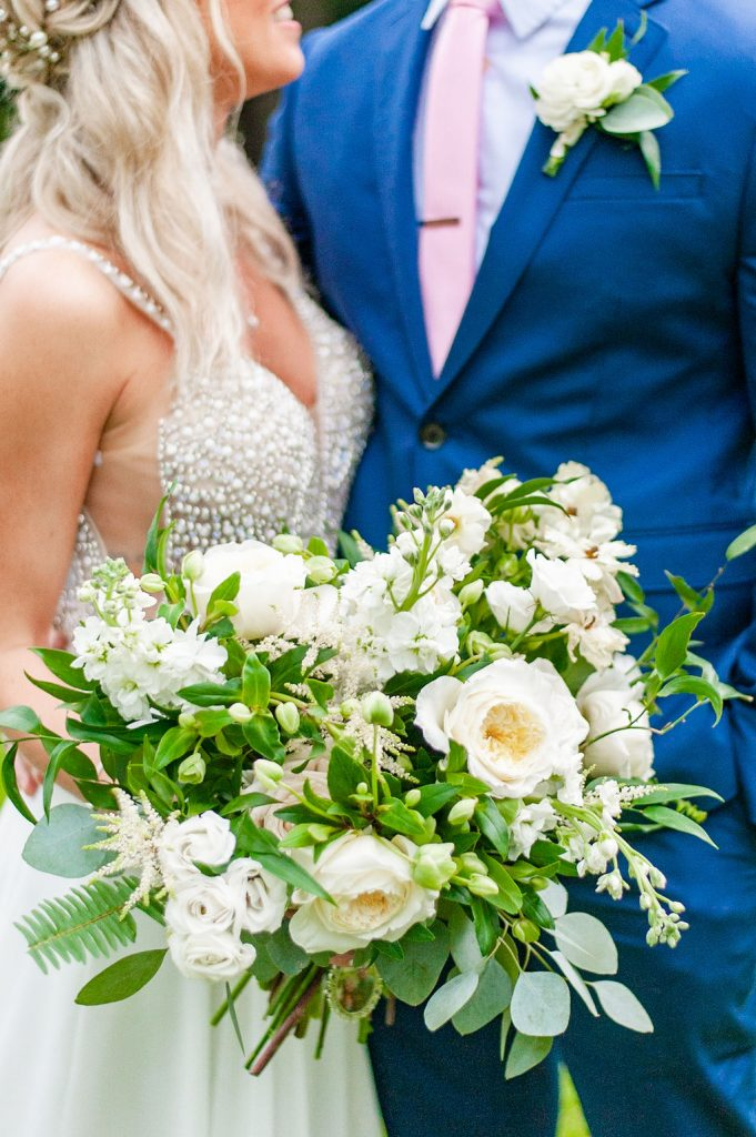 white and green bridal bouquet by Wisteria Designs in Charleston, SC